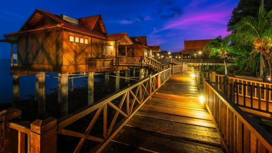Overwater bungalow in Langkawi at summer night wallpaper