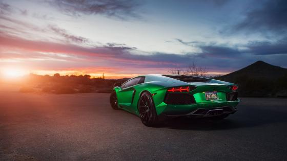 Green Lamborghini Aventador wallpaper