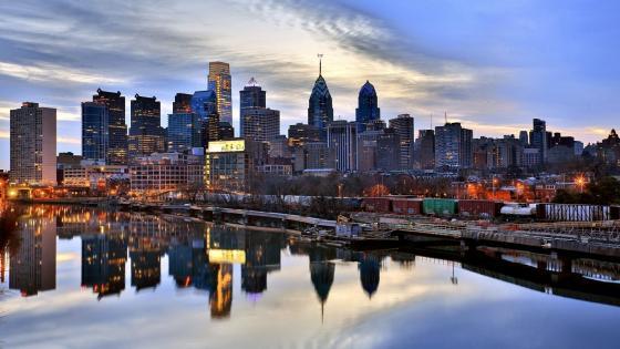 Philadelphia skyline reflection wallpaper