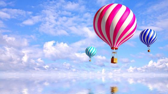 Hot air balloons over the water - Fantasy art wallpaper