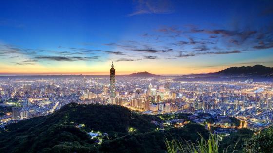Taipei skyline at dawn wallpaper