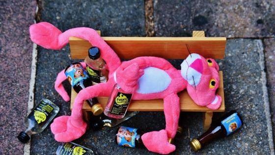 Drunken Pink Panther on a bench wallpaper
