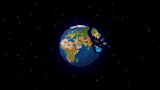 Pixel Earth - Digital art wallpaper
