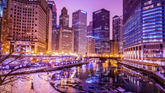 Chicago River at dusk (Chicago) wallpaper
