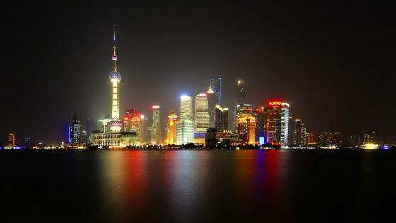 Pudong Skyline at night (Shanghai, China) wallpaper