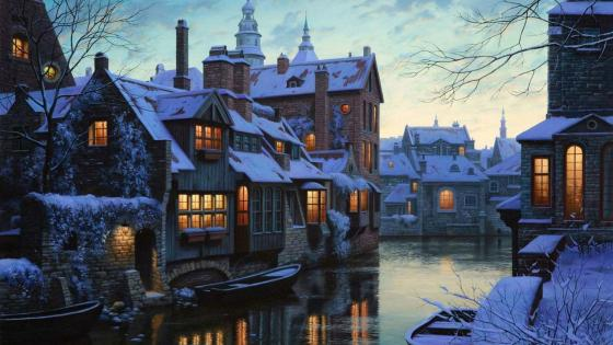 Bruges cityscape painting art wallpaper