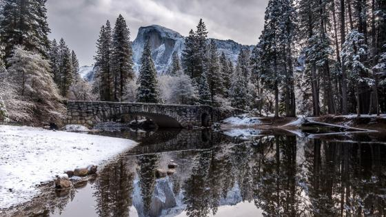 Clarks Bridge over Merced River (Yosemite National Park wallpaper