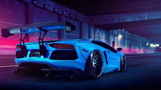 White Lamborghini Aventador in a tunnel wallpaper