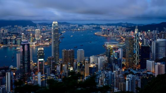 Hong Kong cityscape from Victoria Peak at dusk wallpaper