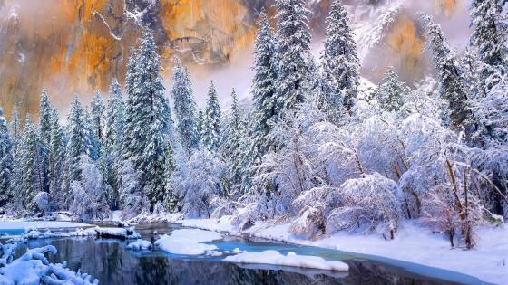 Yosemite National Park at wintertime wallpaper