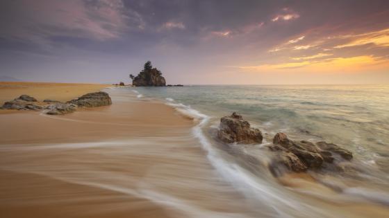 Empty beach at sunrise wallpaper