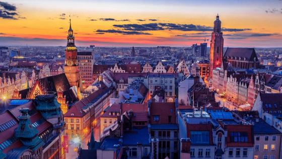 Wrocław cityscape (Poland) wallpaper