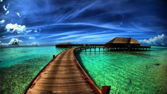 Overwater bungalows wallpaper