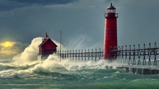Grand Haven South Pier & Lighthouses wallpaper