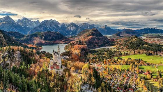 Neuschwanstein Castle and Hohenschwangau village (Germany) wallpaper
