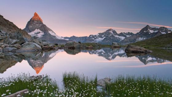 Matterhorn reflected in Riffelsee wallpaper