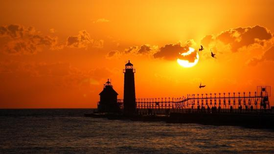 Grand Haven South Pier Lighthouses at sunset wallpaper