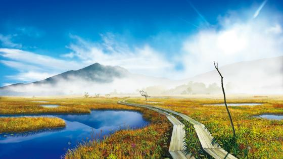 Beautiful misty mountains wallpaper