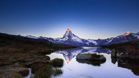 Riffelsee reflected Matterhorn wallpaper
