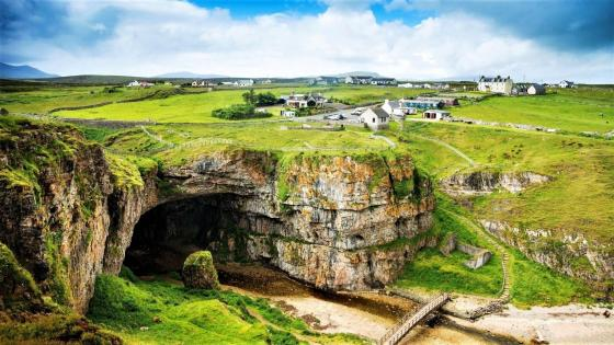 Scottish countryside and the Smoo Cave wallpaper