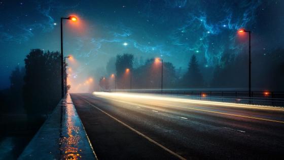 Strange lights over the highway wallpaper