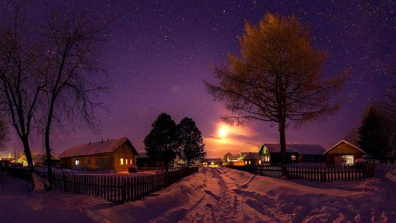 Night landscape with snow wallpaper