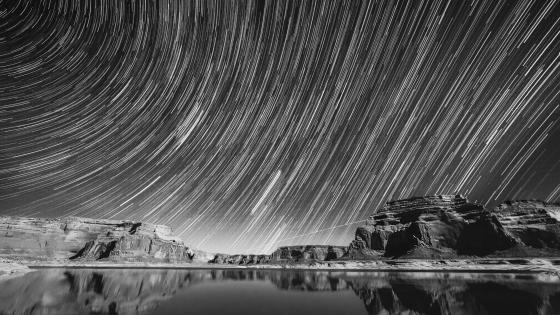 Star trails monochrome long exposure photography wallpaper