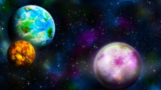 Colorful planets - Space art wallpaper