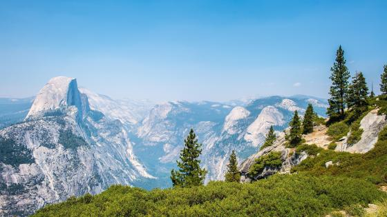 Glacier Point view of Yosemite Valley and Half Dome wallpaper