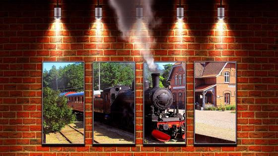 Train In railway station copia wallpaper