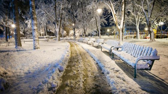Snowy park in Kazanlak (Bulgaria) wallpaper