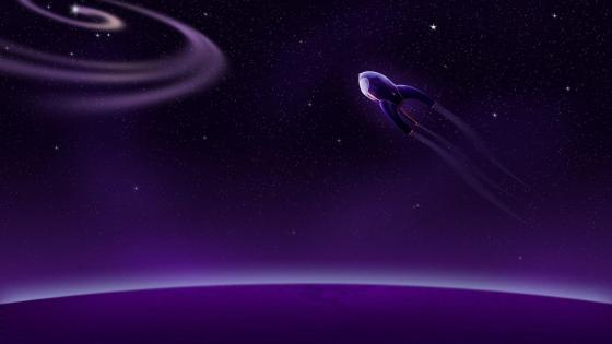 Purple rocket into space wallpaper