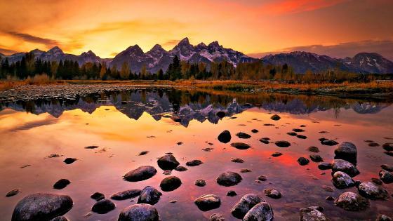Grand Teton reflection wallpaper