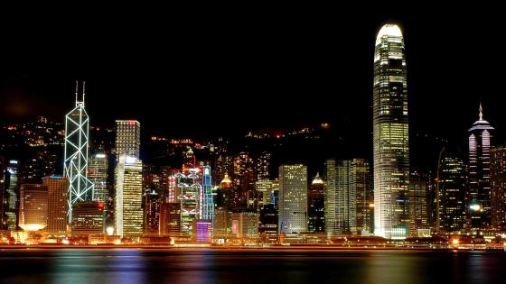 Hongkong skyline from Victoria Harbour at night wallpaper