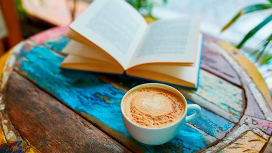 Coffee and book wallpaper