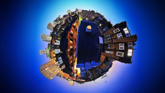 Tiny planet effect city wallpaper