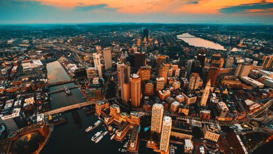 Boston skyline - Aerial photography wallpaper