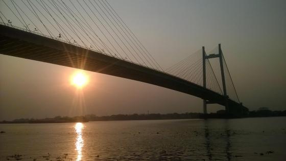 Bridge on evening wallpaper