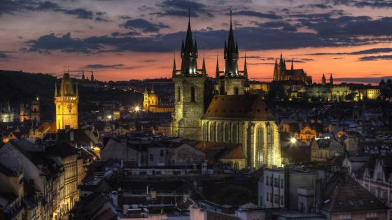 Prague Castle at dusk wallpaper