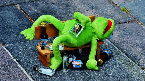 Drunk Kermit the Frog wallpaper