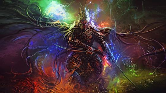 Big warrior with swords wallpaper