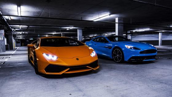 Lamborghini Gallardo vs Aston Martin DB11 wallpaper