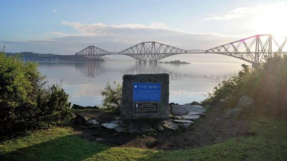 Forth Bridge and The Binks historic plaque wallpaper