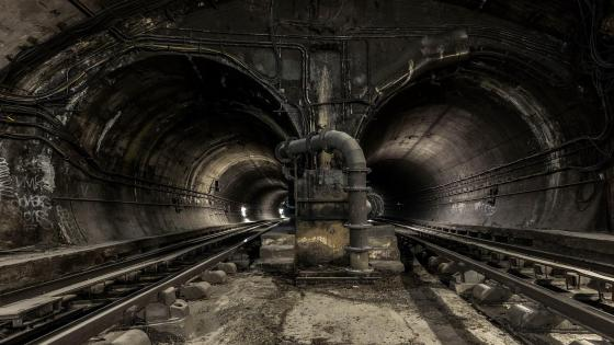 Underground tunnel wallpaper