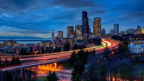 Seattle at dusk wallpaper