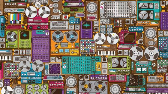 Retro music device pattern wallpaper