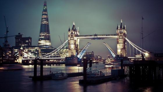 Tower Bridge and The Shard at night (London) wallpaper
