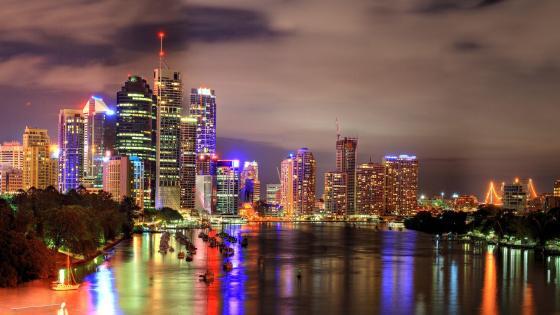 Brisbane at dusk wallpaper