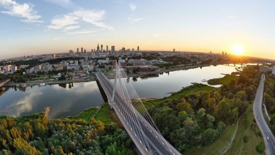 Warsaw skyline at dawn wallpaper