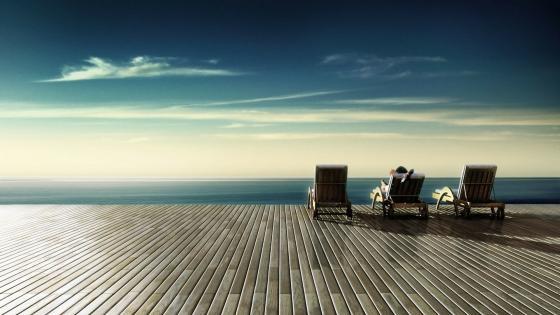 Sunbed relaxing wallpaper